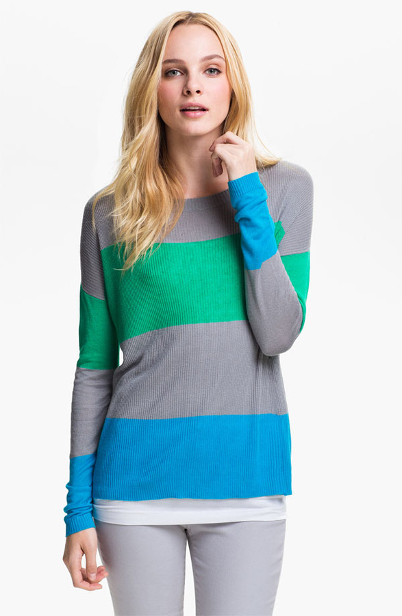 Vince Camuto Two by Stripe Crewneck Sweater