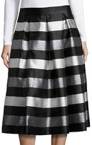 Eliza J Striped A-Line Midi Skirt