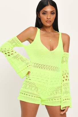 I SAW IT FIRST Neon Lime Crochet Playsuit