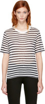 Alexander Wang Navy and Ivory Striped Cropped T-shirt
