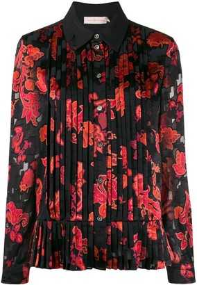 Tory Burch Floral Print Pleated Shirt
