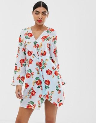 UNIQUE21 long sleeve mini wrap dress