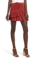 Soprano Women's Faux Suede Ruffle Miniskirt