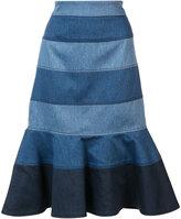 Carolina Herrera striped denim trumpet skirt - women - Acetate/Polyester/Cotton - 4