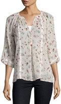 Joie Gloria B Floral Silk Blouse, Pink/White