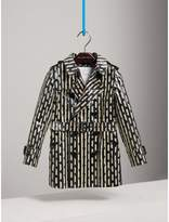 Burberry Laminated Spot and Stripe Print Trench Coat