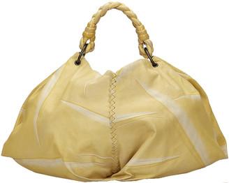 Bottega Veneta White/Yellow Leather Tie and Dye Hobo