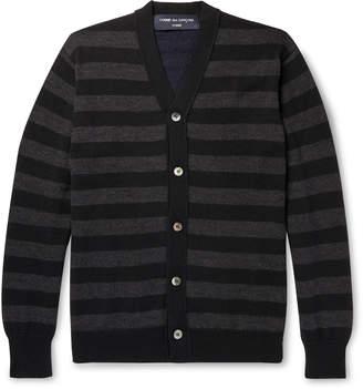 Comme des Garcons Homme Logo-Appliqued Striped Wool Cardigan