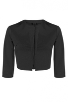 Quiz Black 3/4 Sleeved Cropped Jacket