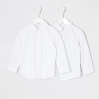 River Island Mini boys white twill shirt 2 pack