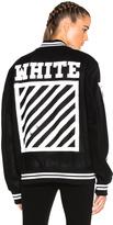 Off-White Brushed Diagonals Varsity Bomber Jacket