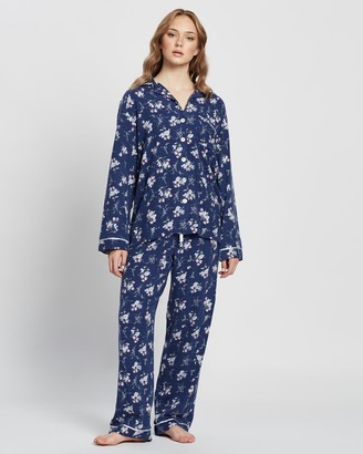 Papinelle Women's Navy Pyjamas - Nicolette Navy Pyjama Set - Size One Size, S at The Iconic