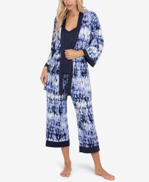 Linea Donatella Tie-Dye Robe, Cami & Capri 3pc Loungewear Set