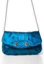Henri Bendel NEW Aqua Blue Pleated Front Silver Tone Chain Strap Clutch Handbag