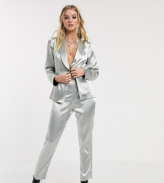 Reclaimed Vintage inspired suit pants in silver metallic