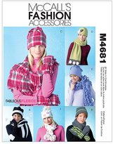 Mccall's M4681 Misses' Hats, Scarves and Convertible Mittens, All Sizes