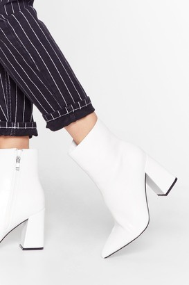 Nasty Gal Womens We Get Your Point Faux Leather Heeled Boots - White - 5, White