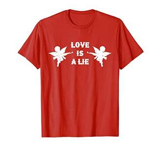 Love Is s A Lie Sarcastic Cupid Machine Gun Valentines T-Shirt