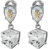 Oscar de la Renta Shield Crystal Drop C Earrings
