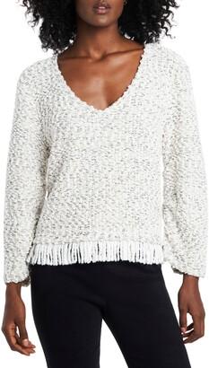Vince Camuto Fringe Hem Cotton Blend Boucle Sweater