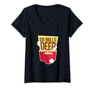 Pool' Womens Beer Pong Balls Deep Drunk Floating Table Pool Drinking Game V-Neck T-Shirt