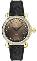 Glam Rock Women's Vintage 34mm Black Leather Band Gold Plated Case Quartz Brown Dial Watch GR28048DS