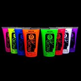 Uv Glow Blacklight Face and Body Paint 1.7oz - Set of 8 Tubes - Neon Fluorescent (All Colours)
