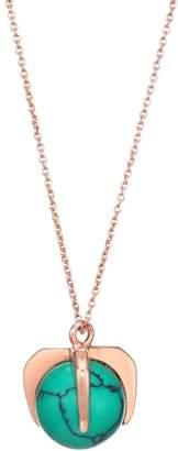 ginette_ny Maria 18K Rose Gold & Turquoise Pendant Necklace