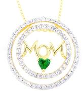 """Ice 2 5/8 CT TW Gold over Sterling Silver Created Emerald and Created White Sapphire """"Mom"""" Pendant"""