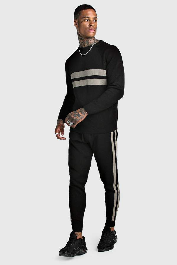 boohoo Knitted Jumper & Jogger Set With Contrast Panel