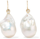 Mizuki 14-karat Gold, Pearl And Diamond Earrings - one size