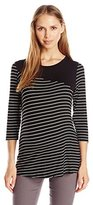Three Seasons Maternity Women's Maternity 3/4 Sleeve Solid Yoke Stripe Top