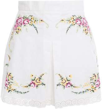 Zimmermann Guipure Lace-trimmed Embroidered Linen And Cotton-blend Shorts