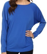 Michael Kors Blue Women's Large L Studded Scoop-Neck Blouse