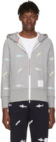 Thom Browne Grey Classic Shark and Surfboard Zip Hoodie