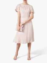 Phase Eight Bettina Floral Lace Bodice Pleated Skirt Dress, Blush