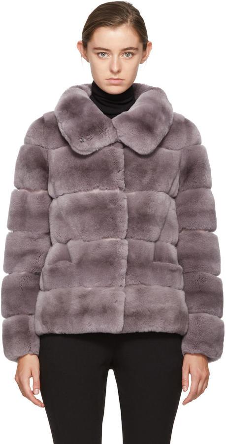 Yves Salomon Purple Ribbed Fur Short Coat