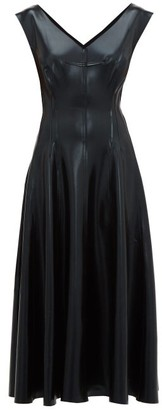 Norma Kamali Grace Reversible Faux-leather Midi Dress - Womens - Black