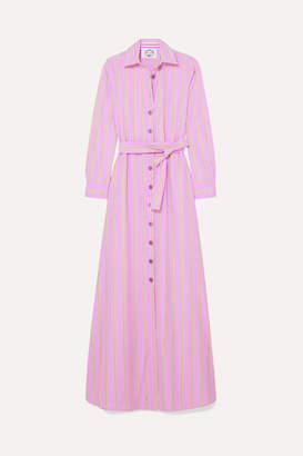 Evi Grintela Valerie Belted Striped Cotton-poplin Maxi Dress - Pink