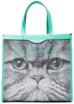 Anya Hindmarch turquoise Kitsch Cat mesh and leather tote bag