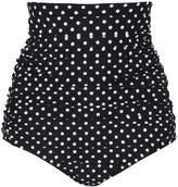 Ebuddy Retro High Waisted Women Tankinis Bikini Bottom Ruched Swim Short,-L