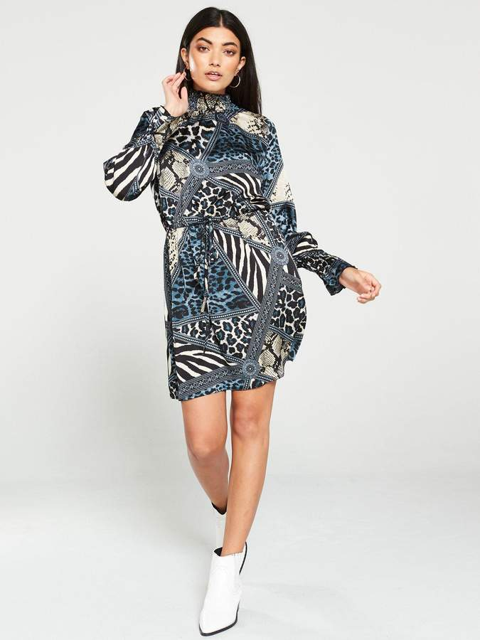 AX Paris Print High Neck Dress - Multi