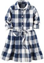 Carter's Girls 4-8 Long Sleeve Gingham Plaid Poplin Shirt Dress