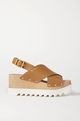 Stella McCartney Studded Vegetarian Leather Platform Sandals - Tan