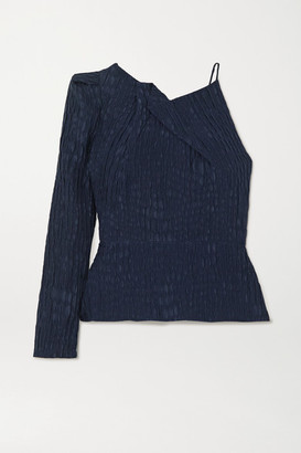 Roland Mouret Bryant One-sleeve Gathered Silk-jacquard Top - Navy