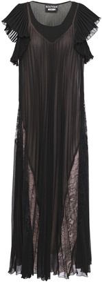Boutique Moschino Lace-paneled Pleated Georgette Midi Dress