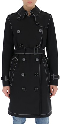 Burberry Contrast Stitching Gabardine Trench Coat