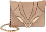 Elena Ghisellini Felina Rose Chain Suede Shoulder Bag Blush/Nude 1SIZE