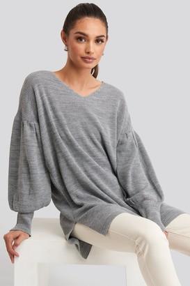 Trendyol V-Neck Knitted Mini Dress Grey