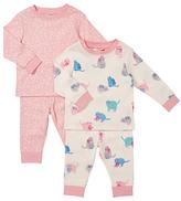 John Lewis Cat and Flower Print Pyjamas, Cream/Pink